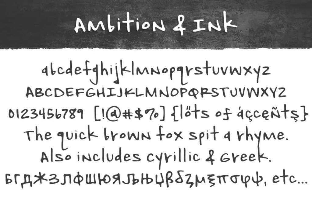 Ambition & Ink Demo Letters