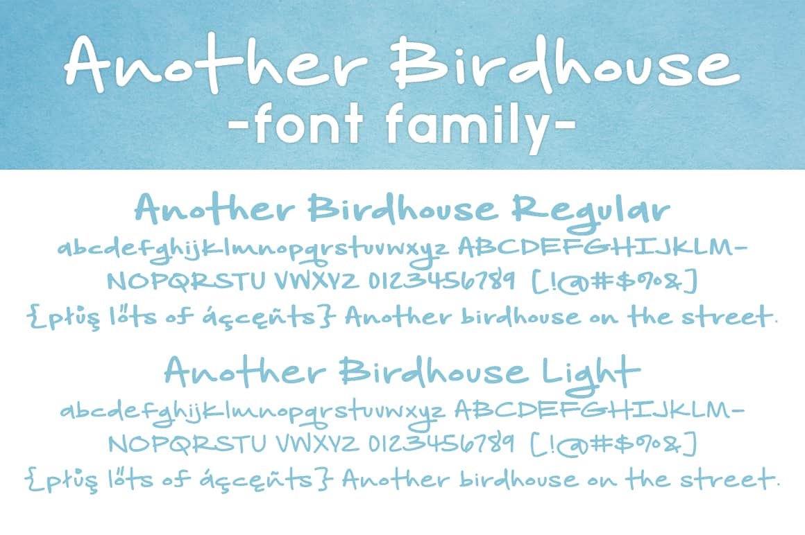 Another Birdhouse Letters Font Family
