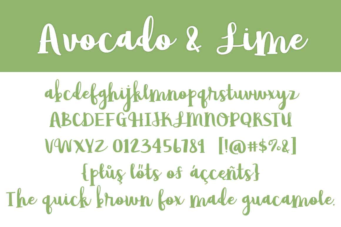 Avocado & Lime Letters