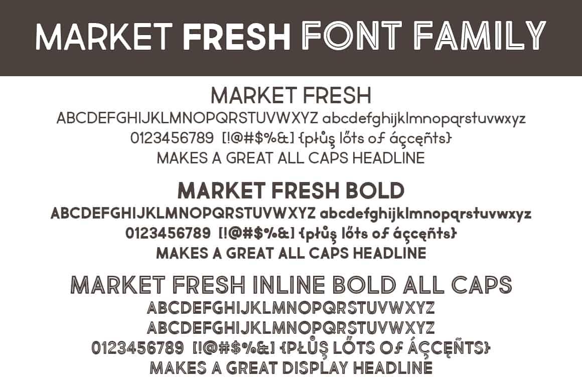 Market Fresh Font Family Letters