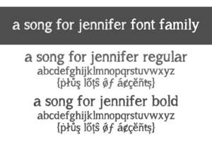 A Song For Jennifer Font Family Letters