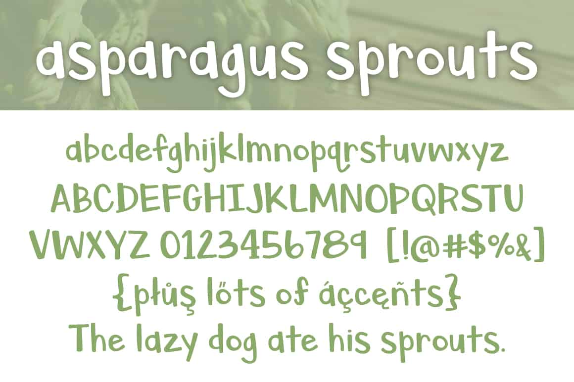 Asparagus Sprouts Letters