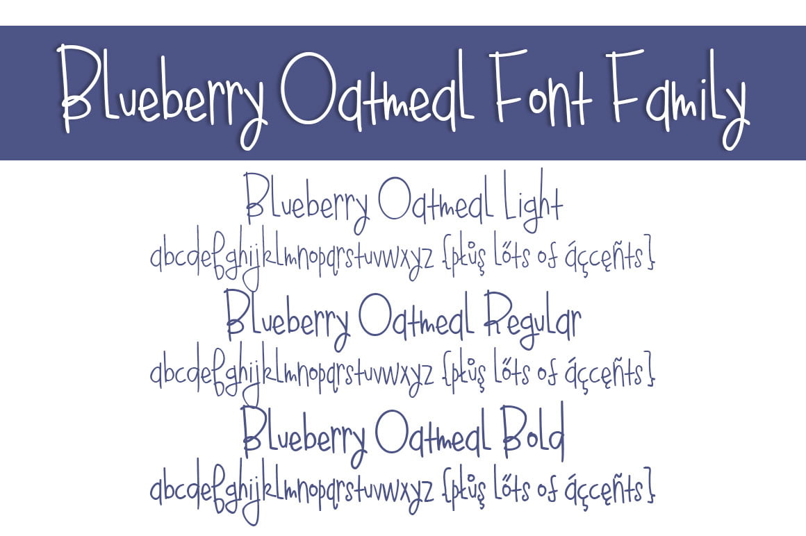 Blueberry Oatmeal Font Family Letters