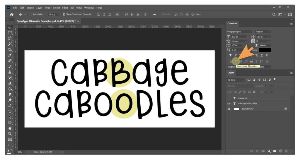 Cabbage Caboodles Contextual Alternates