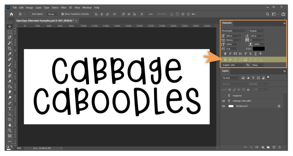 Cabbage Caboodles Highlighting Opentype Tools In Character Window