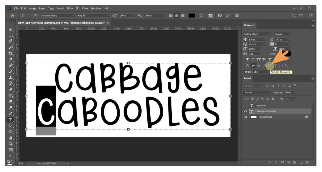Cabbage Caboodles Stylistic Alternates