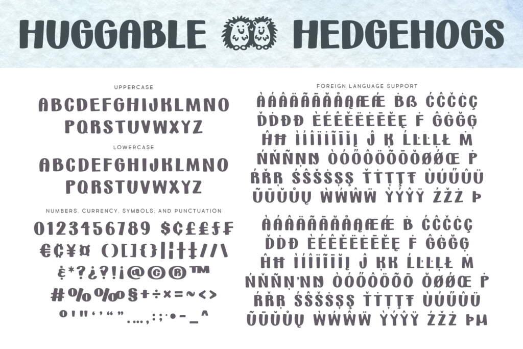 Hugglable Hedgehogs Regular Letters