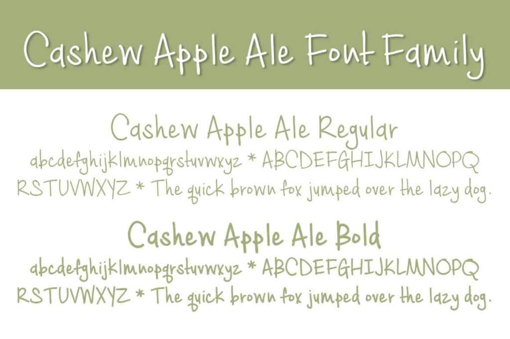 Cashew Apple Ale Letters Font Family