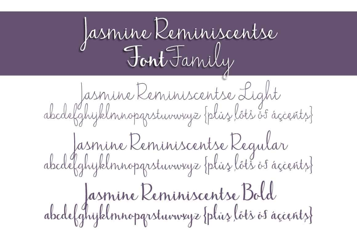 Jasmine Reminiscentse Font Family Letters