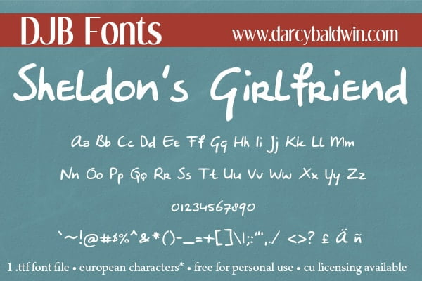 Djbfonts Sheldonsgirlfriend4