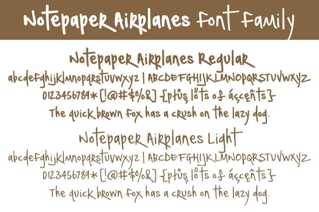 Notepaper Airplanes Font Family Letters