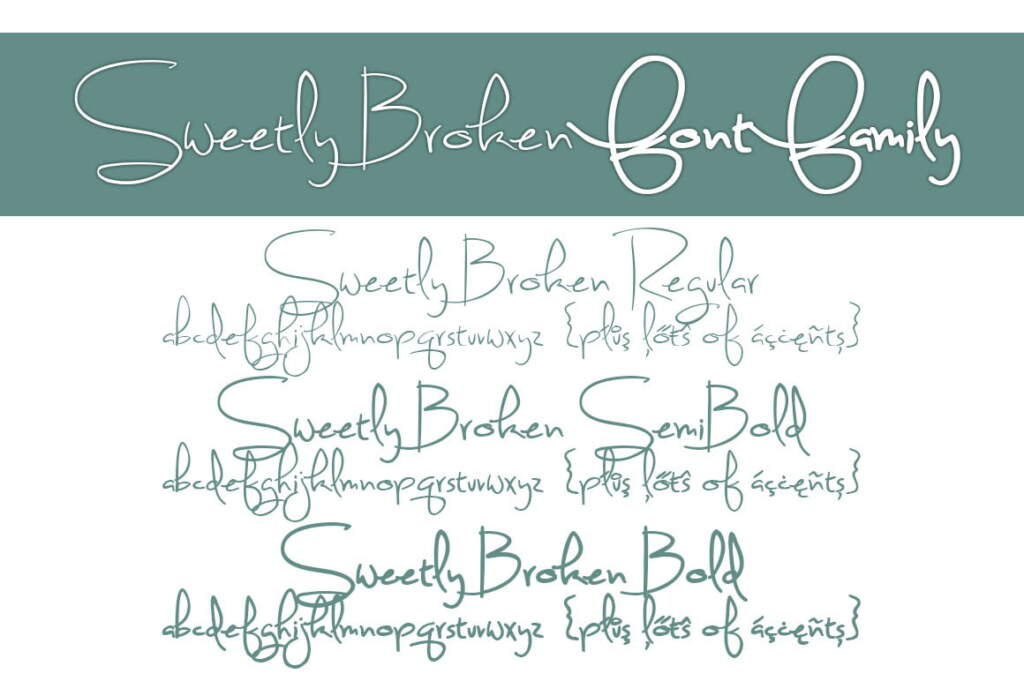 Sweetly Broken Font Family Letters