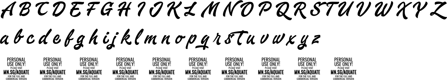 Aquatescript Personal Use Only Character Map Image