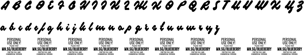 Blueberryscript Personal Use Character Map Image