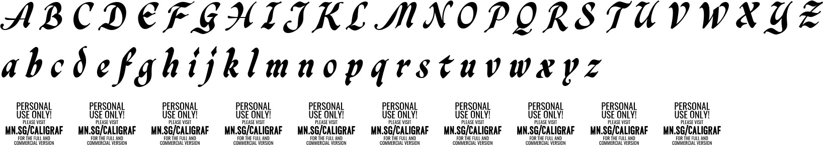 Caligraf Black Personal Use Only Character Map Image