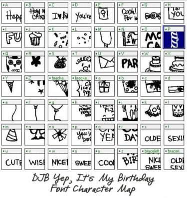Djbfonts Bmagee Itsmybirthday Charactermap