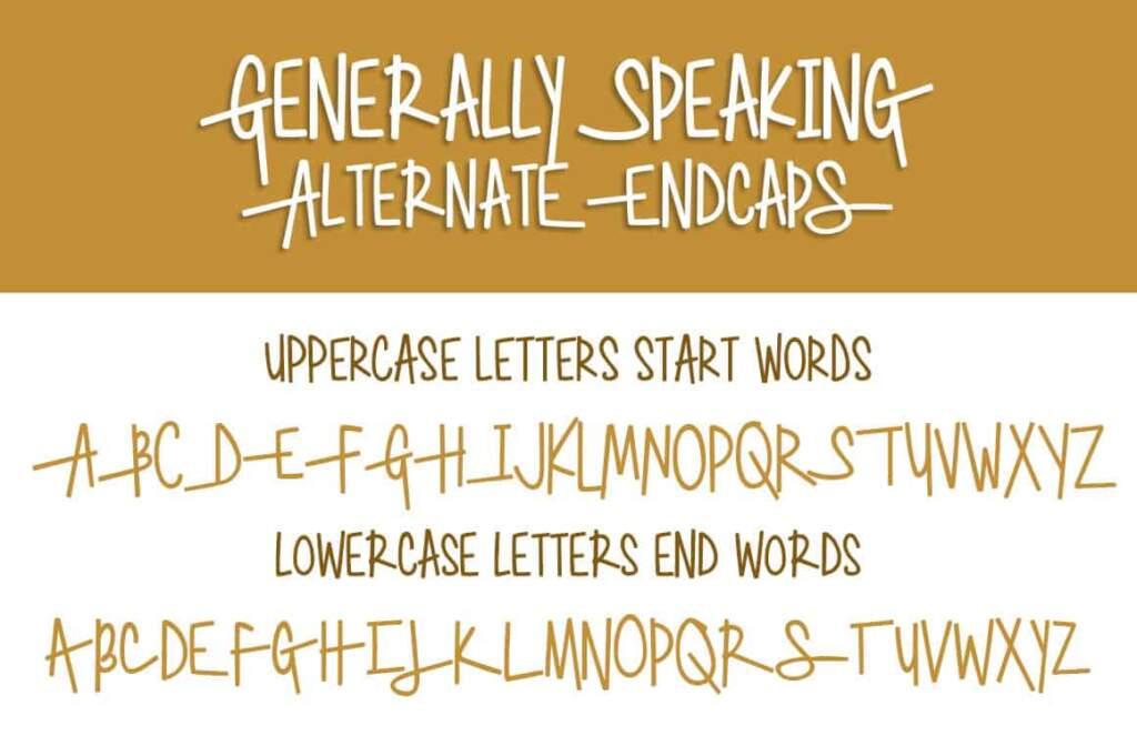 Generally Speaking Alternate Endcaps Letters