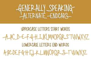 Generally Speaking Alternate Endcaps Letters